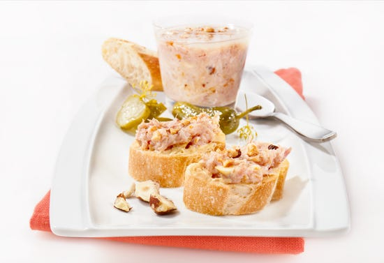 Rabbit rillettes with hazelnuts