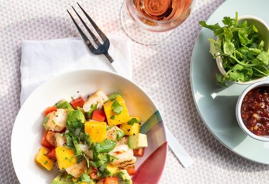 Grilled shrimp, mango and avocado salad