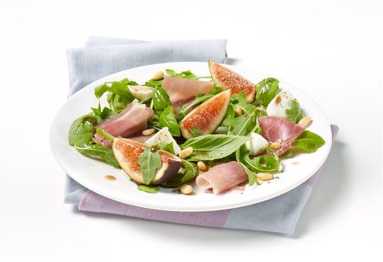 Fresh fig, mozzarella, prosciutto and basil salad