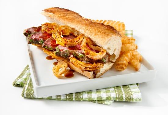 Steak sandwiches on baguette bread