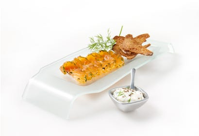 Gravlax (cured salmon) with dill sauce Image