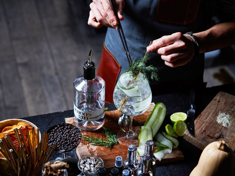 a gin cocktail in preparation