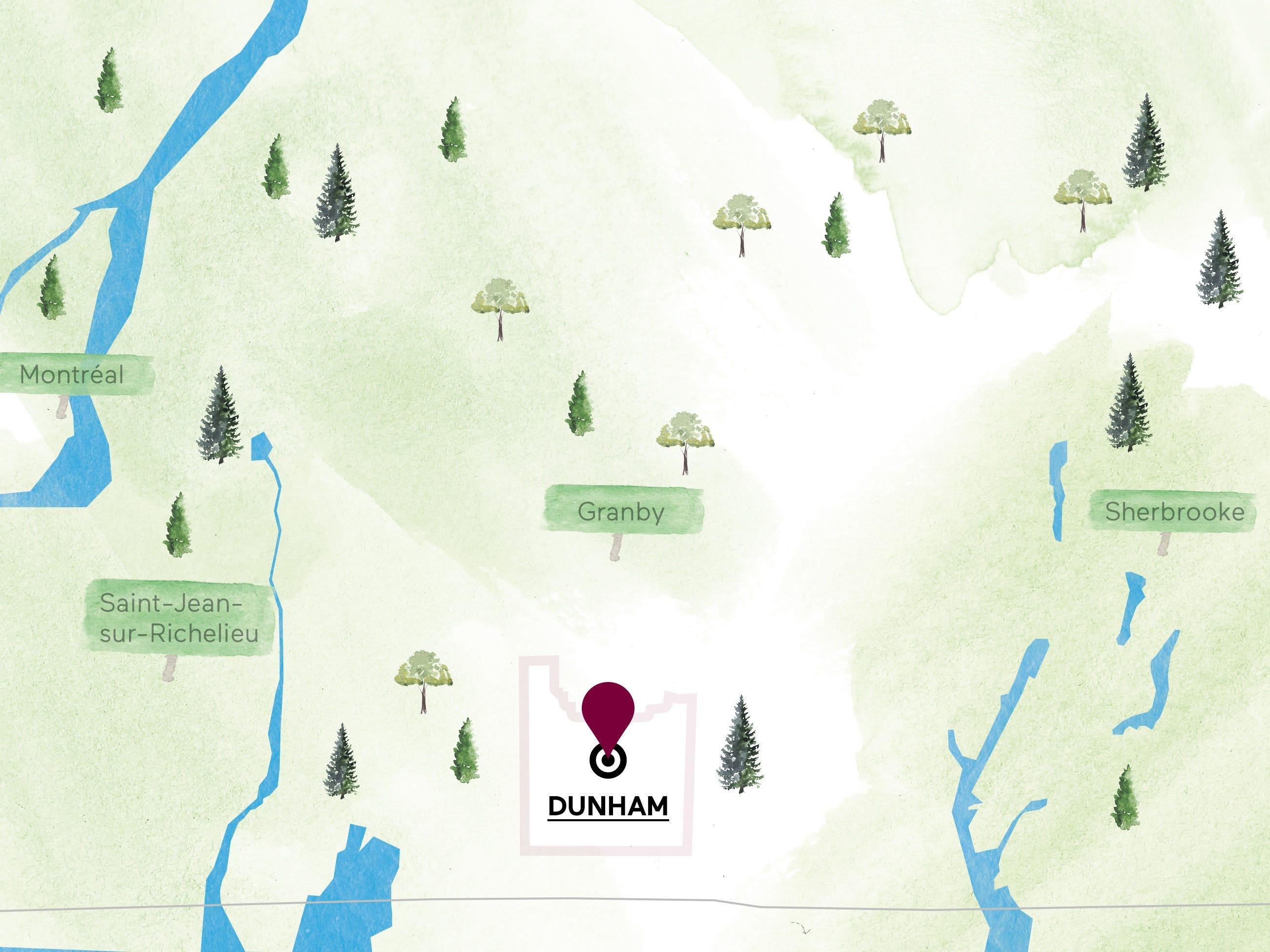 Carte de la région viticole de Dunham.