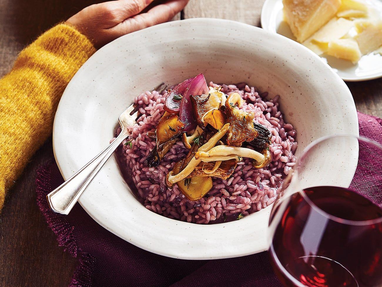 Risotto au vin rouge et aux champignons