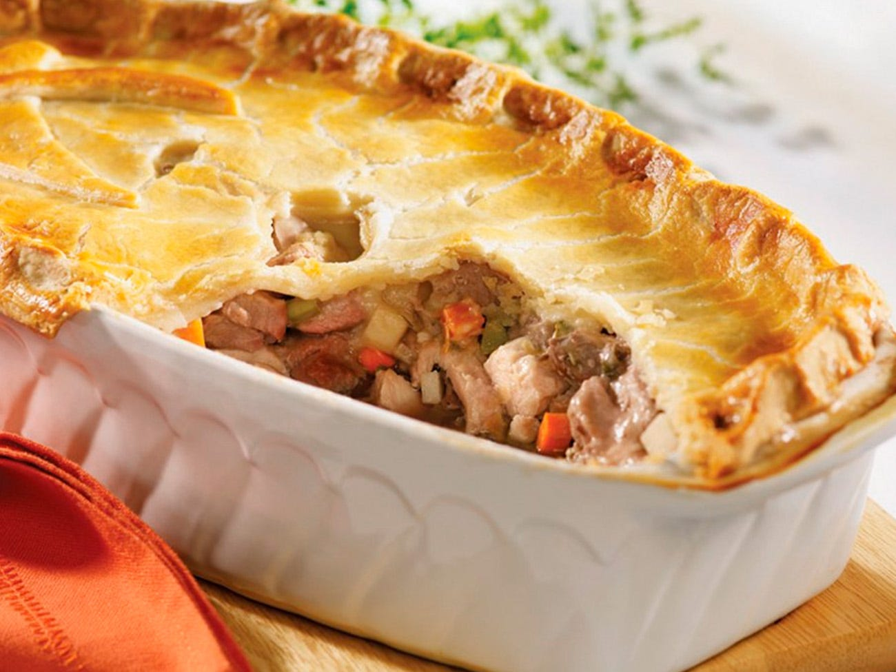 Traditional three-meat pie