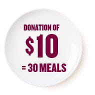 Donation of 10$ = 30 meals