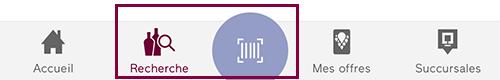 icônes menu du bas de l'application mobile