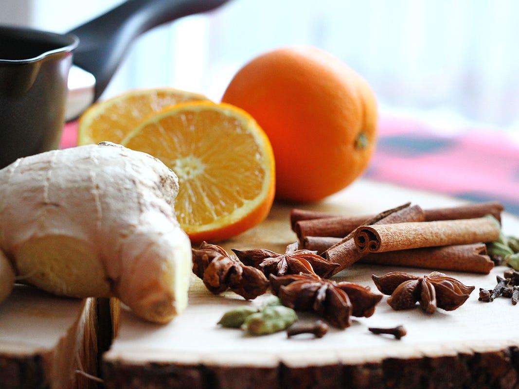 ingrédients pour le vin chaud épicé