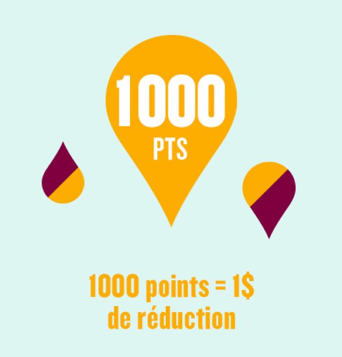 1000 points = 1$ de réduction