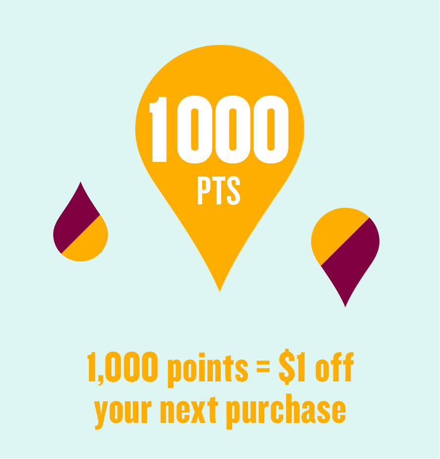 1,000 points = $1 off your next purchase