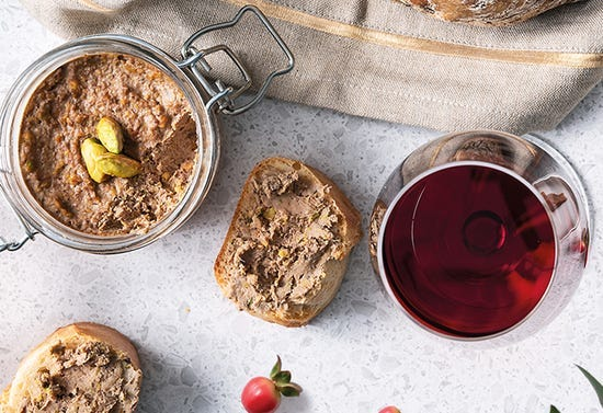 Pistacho and port chicken-liver pâté