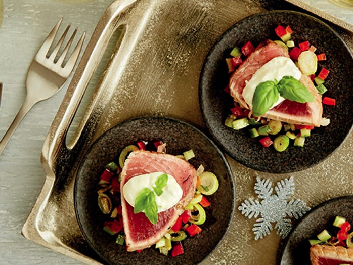 Recette: Tataki de thon albacore, mayonnaise au jus de lime et basilic